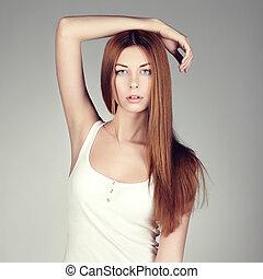 fason, fotografia, od, niejaki, młoda kobieta, z, czerwony włos
