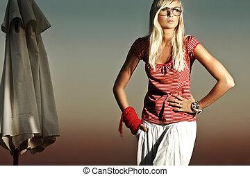 fason, fotografia, od, niejaki, piękny, blond