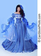 fason, fotografia, od, piękna kobieta, w, podmuchowy, wspaniały, dress., fotografia studia