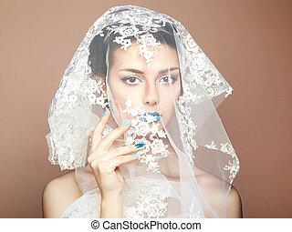 fason, fotografia, od, piękni kobiety, pod, biały, welon