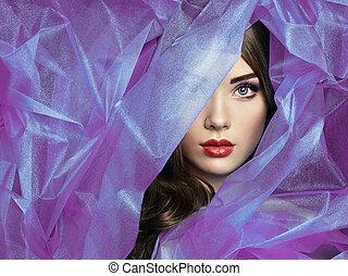fason, fotografia, od, piękni kobiety, pod, purpurowy, welon