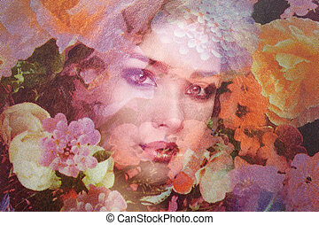 fason, fotografia, od, piękni kobiety, pod, welon