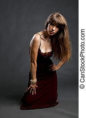 fason, fotografia, od, piękny, młoda kobieta