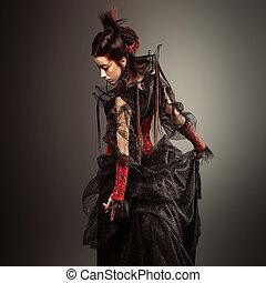 fason, gotycki styl, wzór, dziewczyna, portret