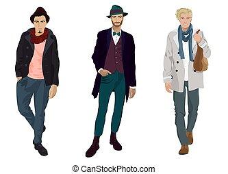 fason, isolated., młody, przystojny, człowiek, przypadkowe ubranie