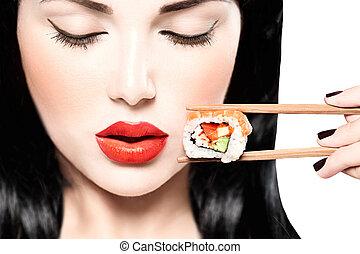 fason, jedzenie, piękno, sushi, dziewczyna, portret, sztuka, wzór, ewidencja