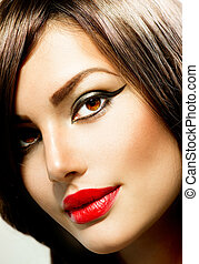 fason, kobieta, portrait., piękno, makijaż