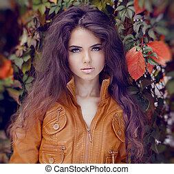 fason, kobieta, włosiany styl, i, makeup., jesień, style.,...