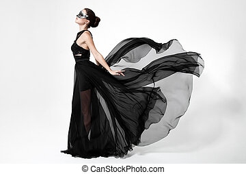 fason, kobieta, w, trzepotliwy, czarnoskóry, dress., biały, tło.