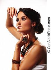 fason, kobieta, z, biżuteria, na białym, tło