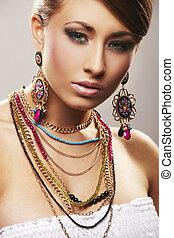 fason, kobieta, z, biżuteria