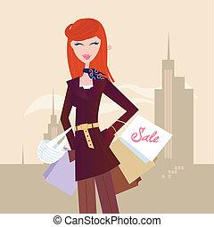fason, kobieta, z, shopping torby, w, miasto
