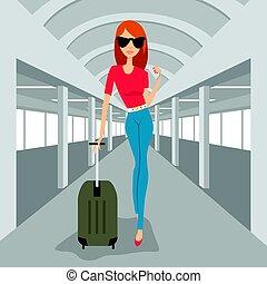 fason, kobieta, z, walizka, pieszy, w, lotnisko