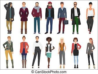 fason, ludzie, collection., młody, szykowny, przypadkowe ubranie