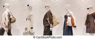 fason, mannequins, w, okno