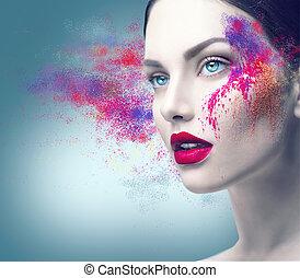 fason modelują, dziewczyna, portret, z, barwny, proszek, makijaż