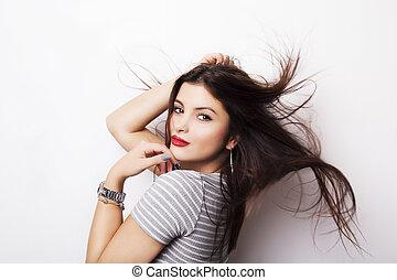 fason modelują, dziewczyna, portret, z, długi, podmuchowy, hair.
