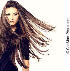fason modelują, dziewczyna, portret, z, długi, podmuchowy, włosy