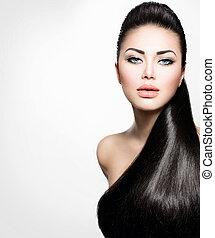 fason modelują, dziewczyna, z, długi, zdrowy, prosty włos