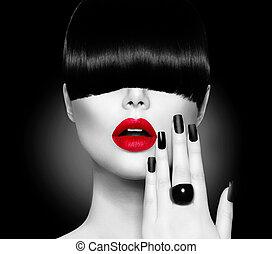fason modelują, dziewczyna, z, modny, fryzura, makijaż, i, manicure