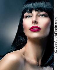 fason modelują, portrait., hairstyle., piękny, brunetka, dziewczyna