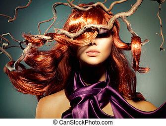 fason modelują, portret kobiety, z, długi, kędzierzawy, czerwony włos