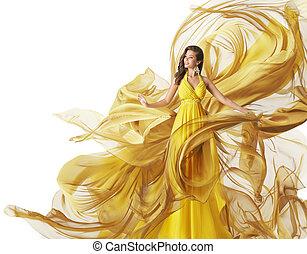 fason modelują, strój, kobieta, w, fałdzisty, budowla, suknia, odzież, potok, biały, żółty