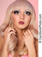 fason modelują, z, barbie, lalka, charakteryzacja