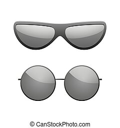 fason, nowoczesny, spectacles., design., styl, sylwetka, ikony, słońce, set., odizolowany, światło słoneczne, tło., czarnoskóry, biały, sunglasses, symbol, ilustracja, dodatkowy, nosić, eyewear., oko, wektor, summer., elegance., okulary