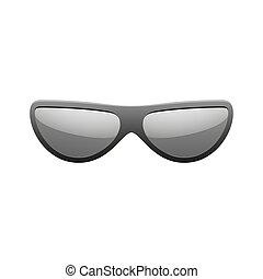 fason, nowoczesny, spectacles., design., styl, sylwetka, słońce, odizolowany, światło słoneczne, tło., czarnoskóry, biały, sunglasses, symbol, ilustracja, dodatkowy, nosić, eyewear., oko, wektor, icon., summer., elegance., okulary