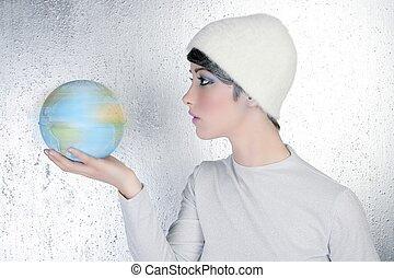 fason, nowoczesny, srebro, kobieta dzierżawa, globalny, mapa