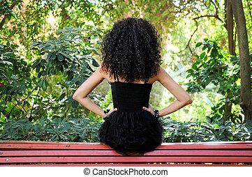 fason, ogród, młody, czarna kobieta, wzór