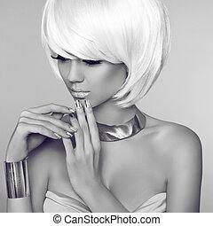fason, piękno, blond, dziewczyna, portret, z, biały, krótki, hair., twarz, c