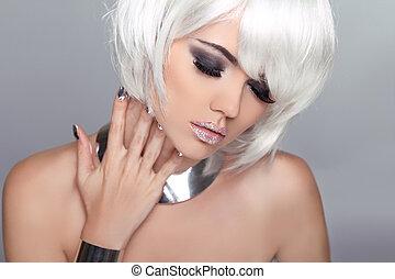 fason, piękno, blond, girl., portret kobiety, z, biały, krótki, hair., hairstyle., ustalać, do góry., moda, style.
