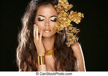 fason, piękno, dziewczyna, odizolowany, na, czarnoskóry, tło., makeup., złoty, jewelry., hairstyle., moda, style., dekoracyjne elementy
