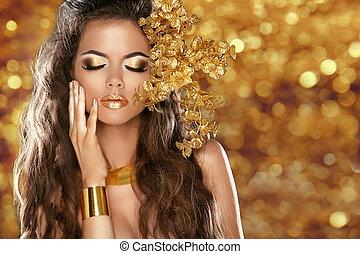 fason, piękno, dziewczyna, odizolowany, na, złoty, bokeh, światła, tło., blask, makeup., złoty, jewelry., hairstyle.