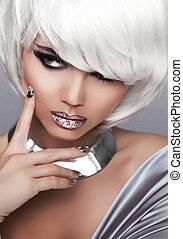 fason, piękno, girl., krótki, blond, hair., portret, woman., biały