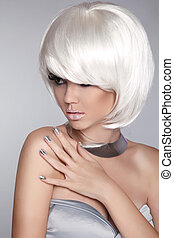 fason, piękno, girl., krótki, iso, blond, hair., portret, woman., biały