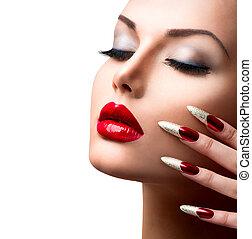 fason, piękno, girl., manicure, charakteryzacja, wzór