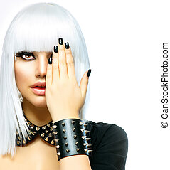 fason, piękno, girl., punk, styl, kobieta, odizolowany, na białym