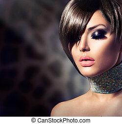 fason, piękno, girl., wspaniały, portret kobiety