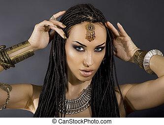 fason, piękno, hair., kobietki, sexy, szykowny, make-up., ...