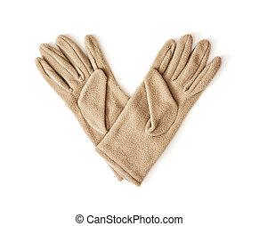 fason, piękno, odizolowany, damski, tekstylny, rękawiczki