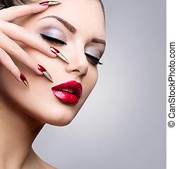 fason, piękno, wzór, girl., manicure, i, charakteryzacja