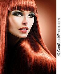 fason, piękno, zdrowy, prosty, długi, hair., wzór, czerwony