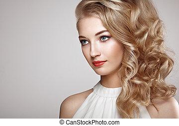 fason, piękny, elegancki, portret, fryzura, kobieta, młody