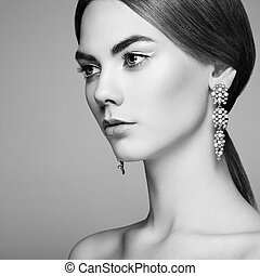 fason, piękny, młody, portret, kobieta, biżuteria