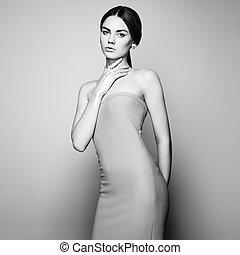 fason, portret, od, elegancki, kobieta w stroju