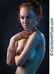fason, portret, od, elegancki, woman., fotografia studia