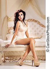 fason, portret, od, młody, elegancki, kobieta, w łóżku